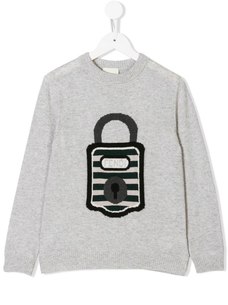 FENDI KIDS: padlock intarsia knit pullover Color Grey_1