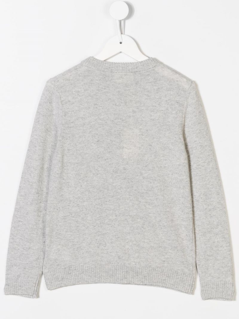 FENDI KIDS: padlock intarsia knit pullover Color Grey_2