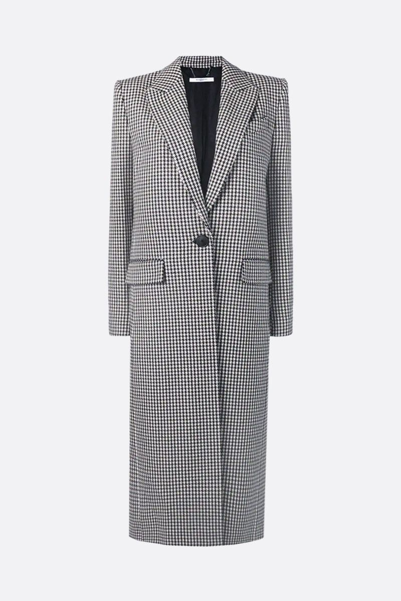 GIVENCHY: houndstooth wool single-breasted coat Color Black_1