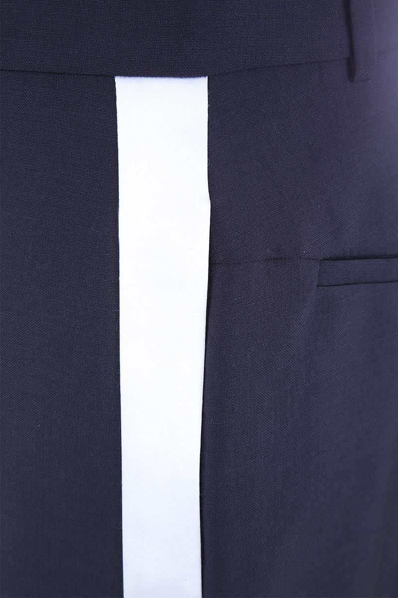 GIVENCHY: contrasting bands tuxedo pants Color White_4
