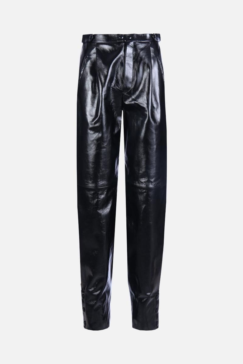 GIVENCHY: patent leather high-waist pants Color Black_1