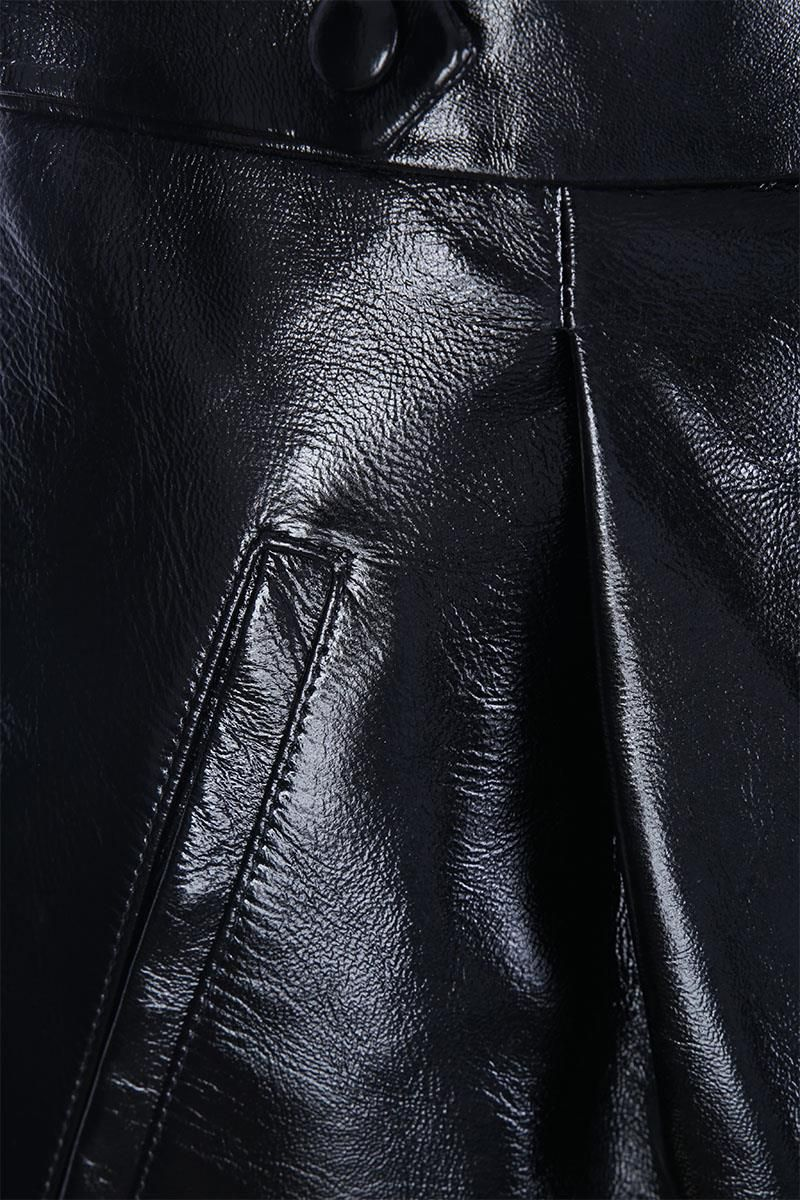 GIVENCHY: patent leather high-waist pants Color Black_3