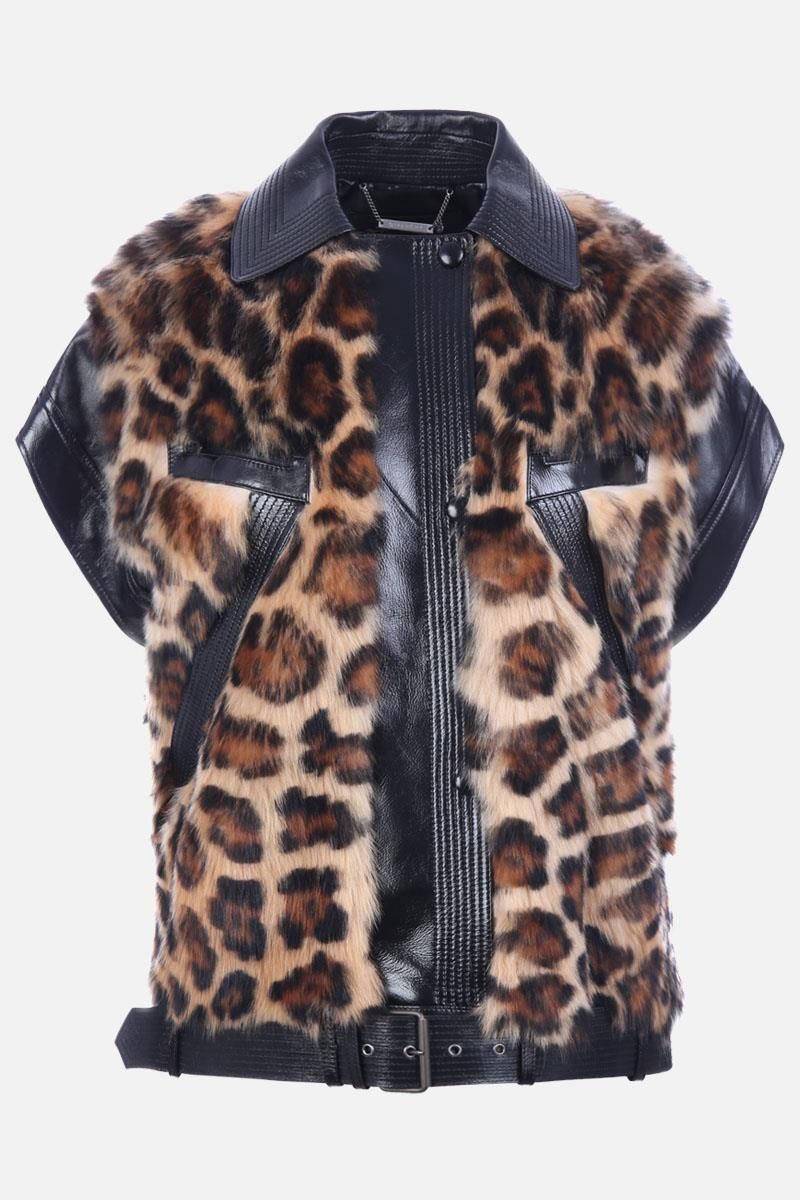 GIVENCHY: oversize shearling and leather jacket Color Multicolor_1