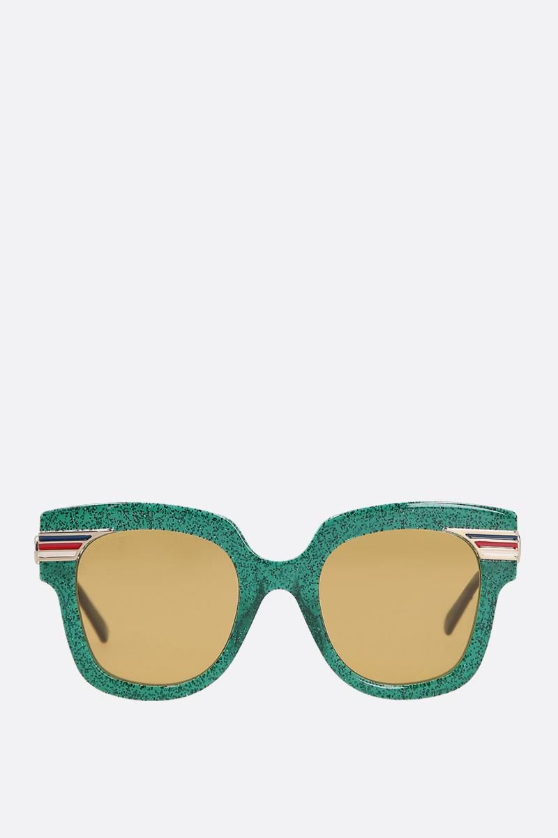 GUCCI: square-frame glitter acetate sunglasses Color Gold_1