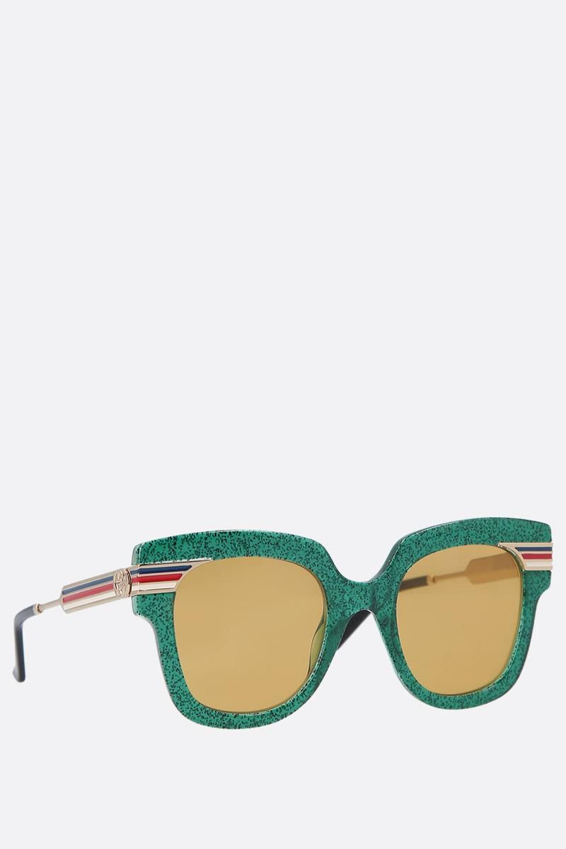 GUCCI: square-frame glitter acetate sunglasses Color Gold_2