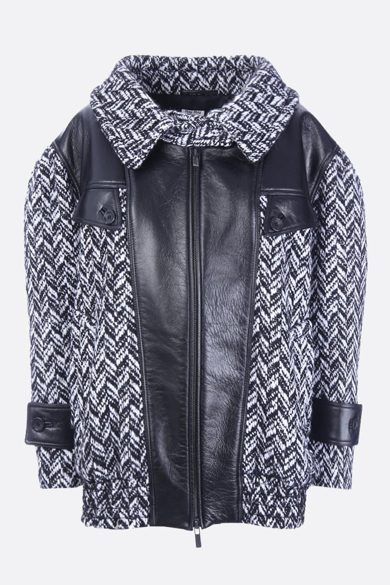 MIU MIU: chevron wool blend bomber jacket with leather inserts Color Black_1