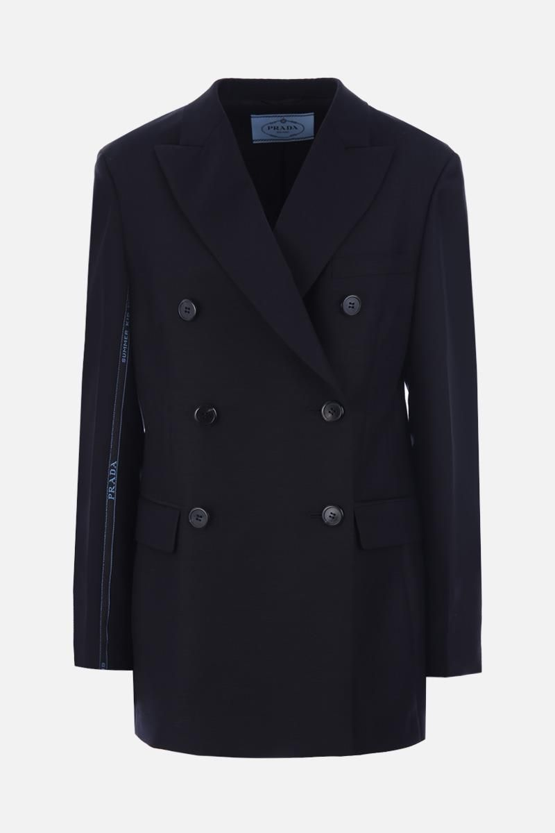 PRADA: double-breasted jacket in lightweight wool Color Black_1