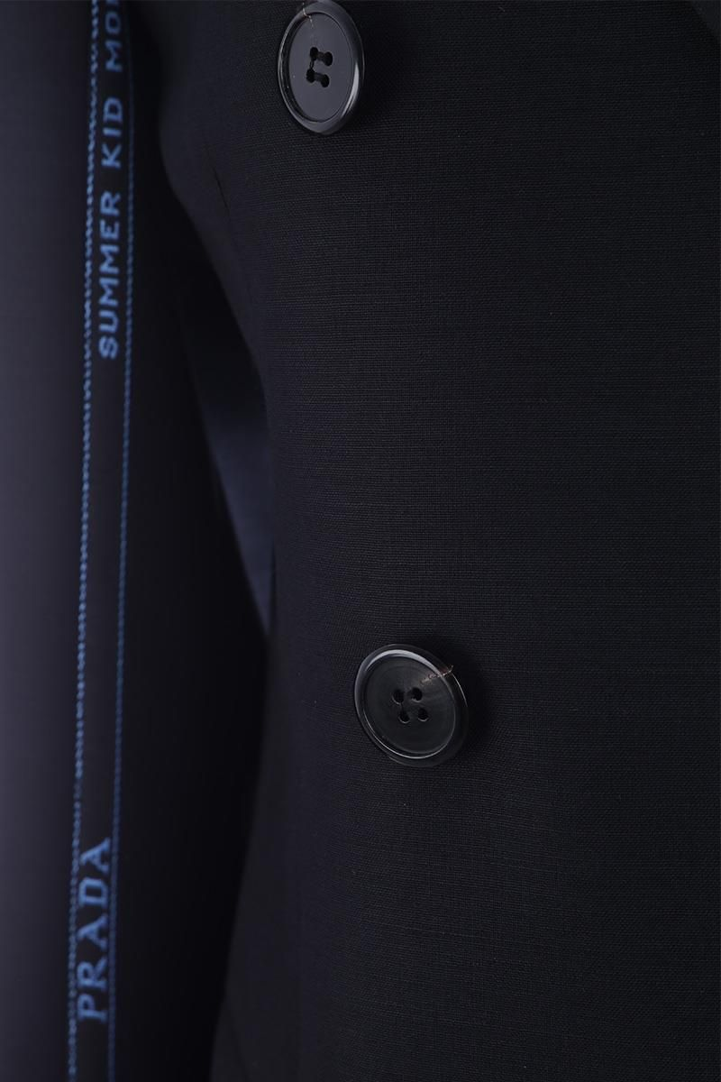 PRADA: double-breasted jacket in lightweight wool Color Black_4