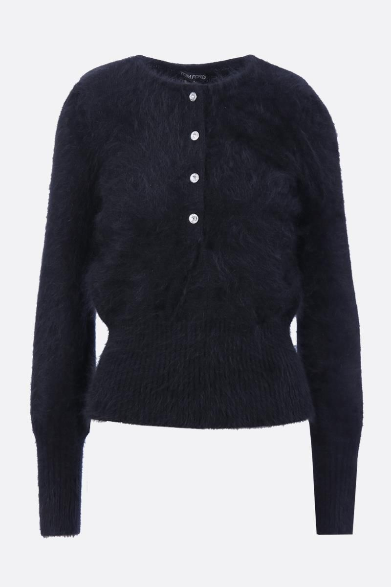 TOM FORD: angora blend pullover with crystal buttons Color Black_1