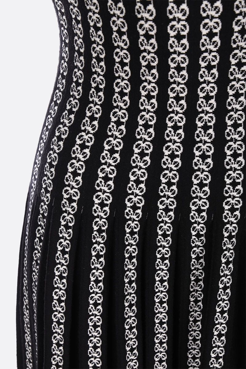 ALAIA: Twist motif stretch knit long dress Color Black_3