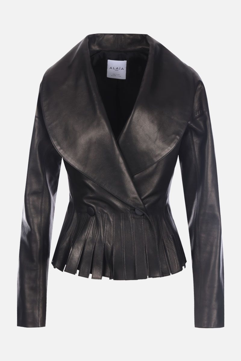 ALAIA: double-breasted nappa leather jacket with fringed hem Color Black_1