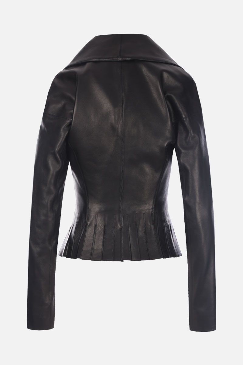 ALAIA: double-breasted nappa leather jacket with fringed hem Color Black_2