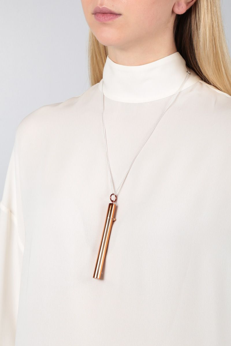 AMBUSH: sterling silver necklace with Cig Case pendant Color Brown_2
