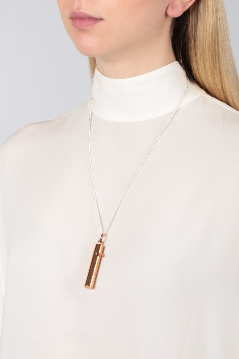 AMBUSH: sterling silver necklace with Pill Case pendant Color Brown_2