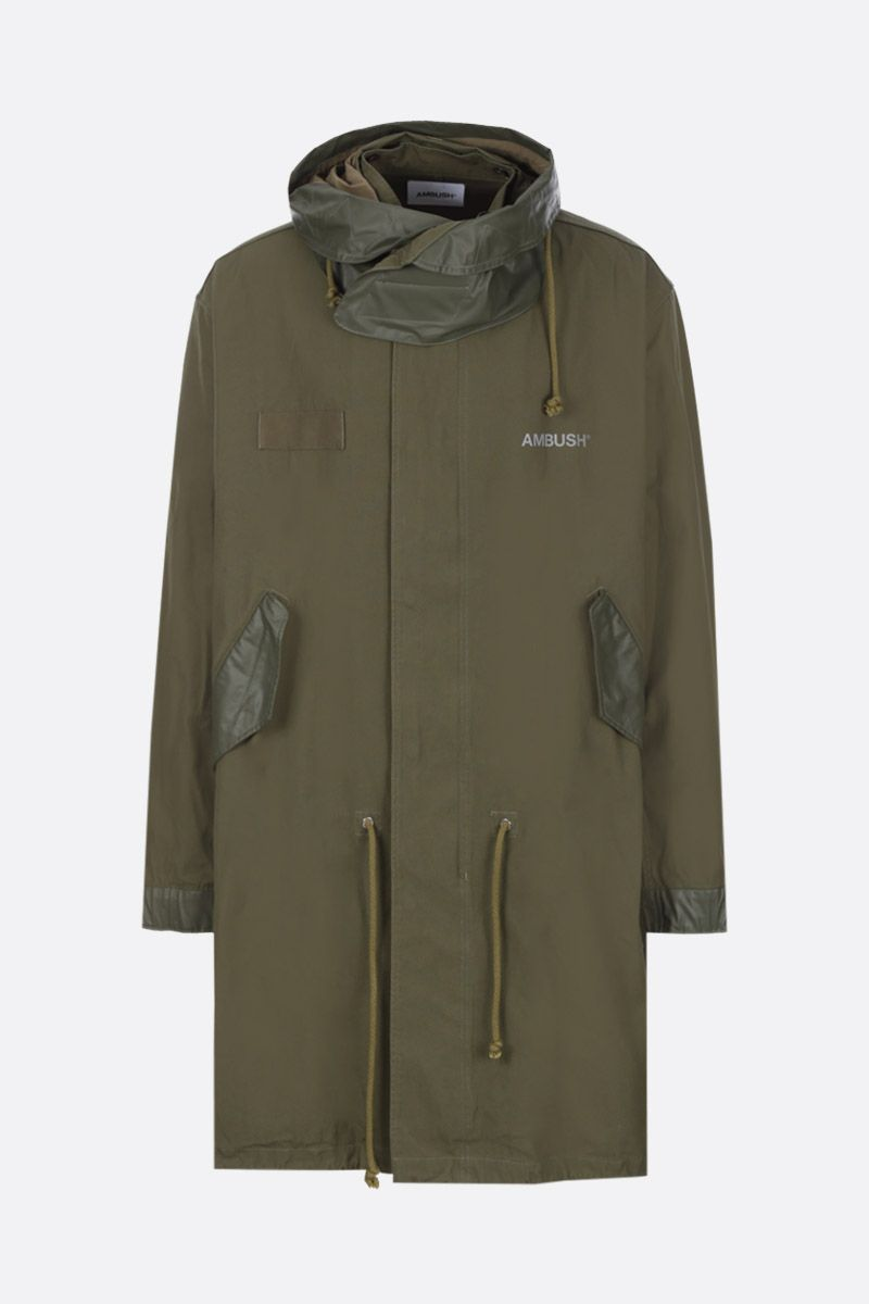 AMBUSH: cotton parka coat with coated details_1