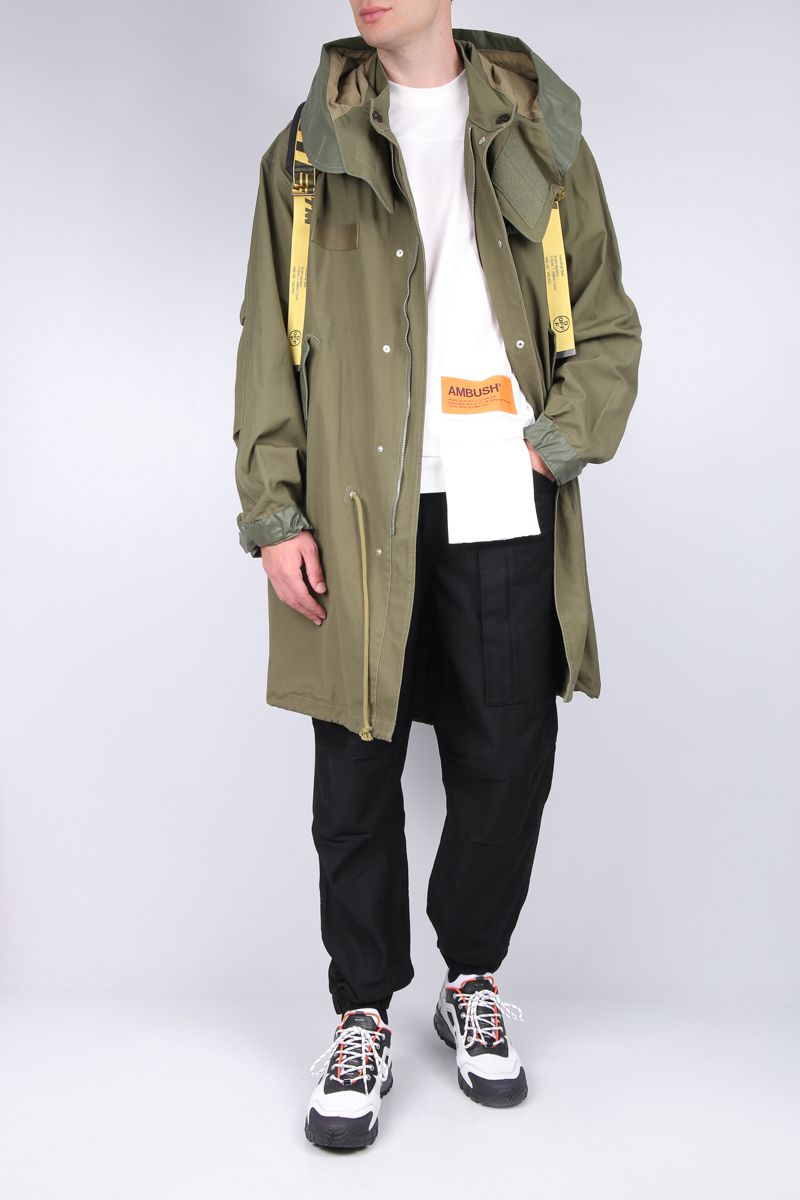 AMBUSH: cotton parka coat with coated details_2