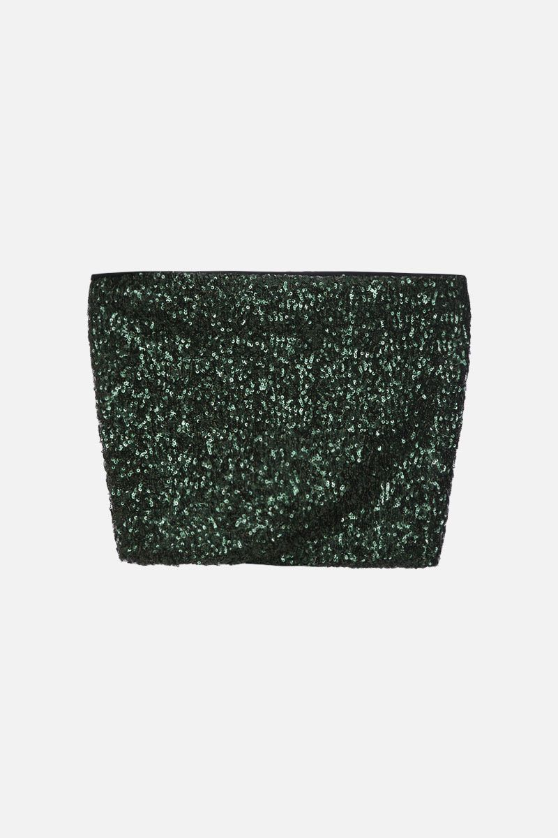 ANDAMANE: Britney sequinned crop top Color Green_1