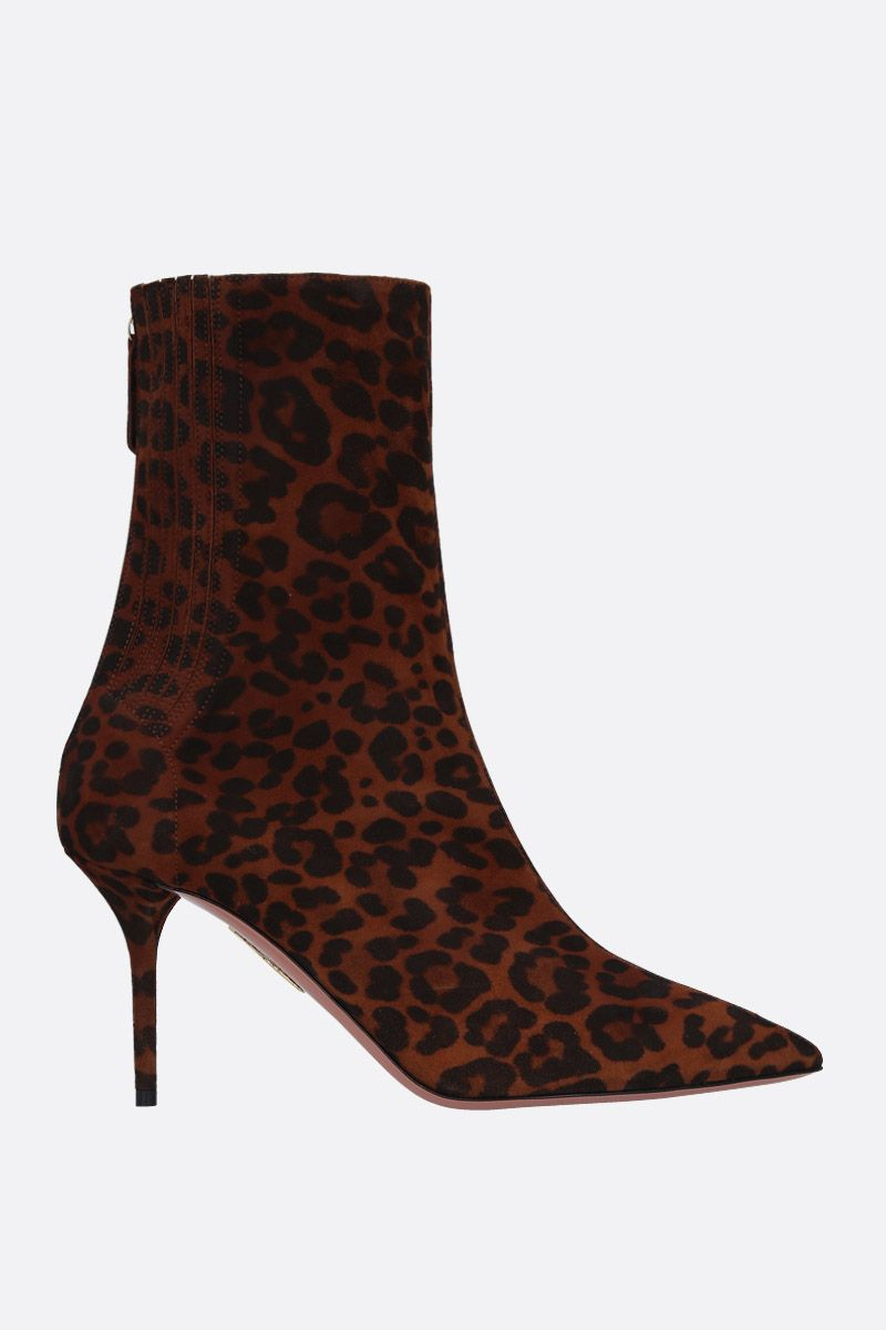 AQUAZZURA: stivaletto Saint Honorè in suede leopardato Colore Neutro_1
