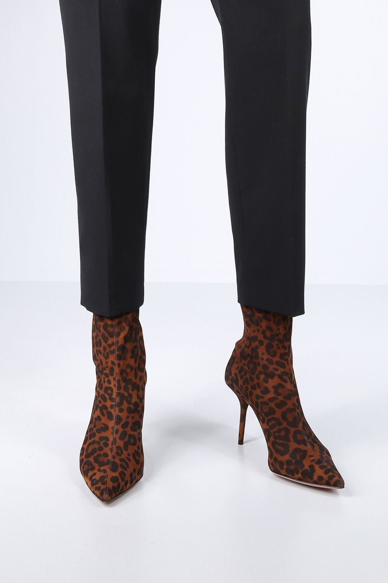 AQUAZZURA: Saint Honorè booties in leopard suede Color Neutral_2