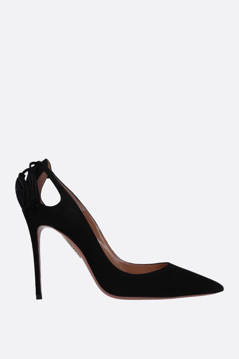 AQUAZZURA: dècolletè Forever Marylin in suede Colore Nero_1