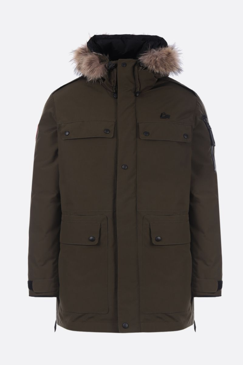 ARCTIC EXPLORER: Polus down parka in technical fabric Color Brown_1