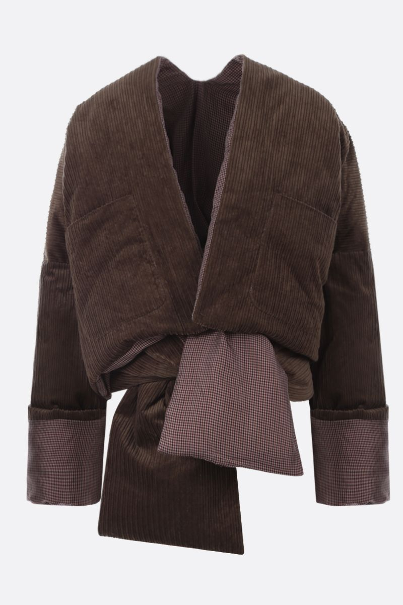 ASAI: reversible padded jacket with matching scarf Color Brown_1