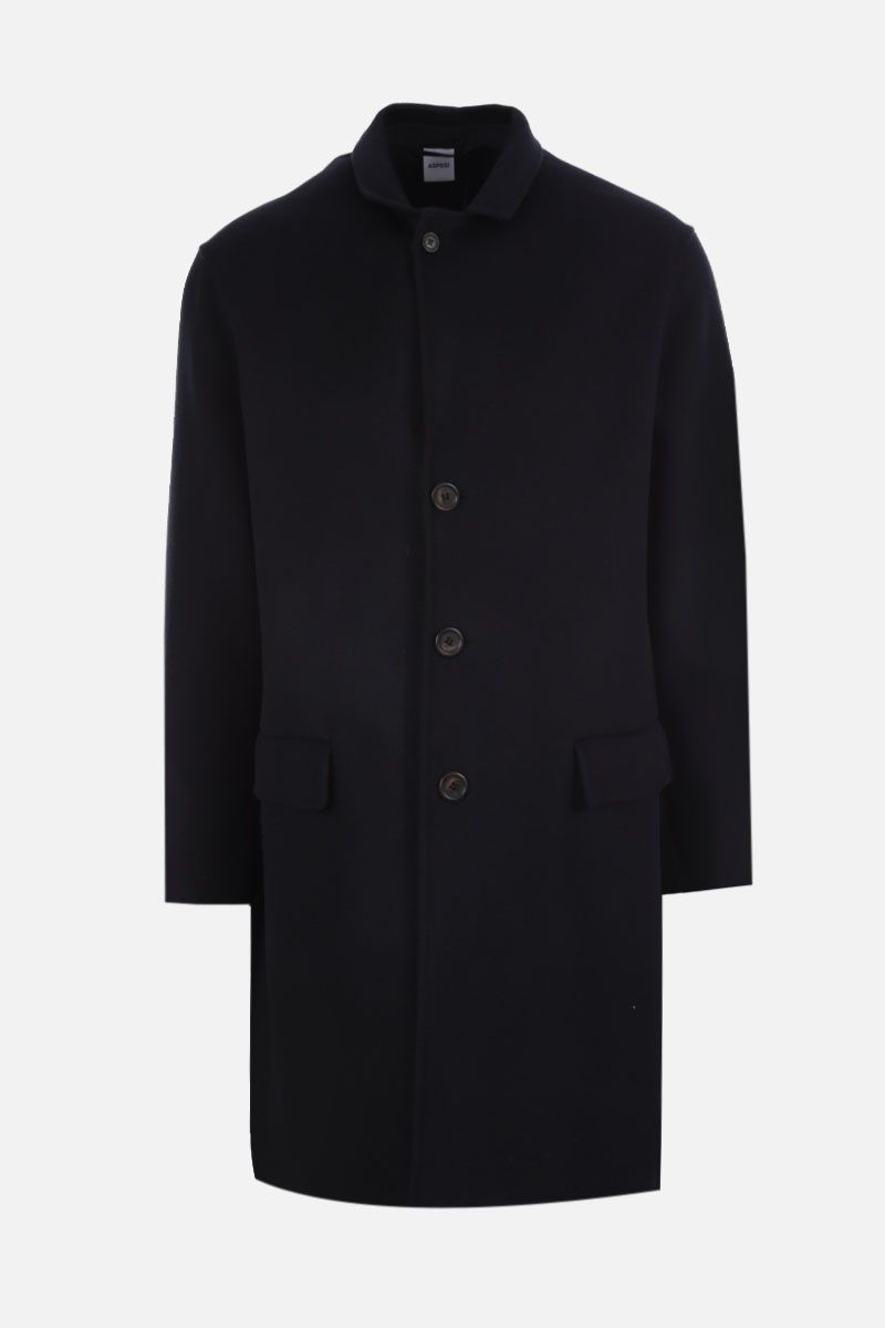 ASPESI: Aquila single-breasted coat in wool cashmere blend Color Blue_1