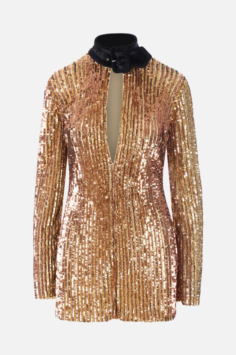 THE ATTICO: sequinned minidress with buckle detail Color Gold_1