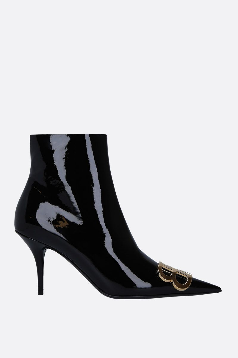 BALENCIAGA: BB ankle boots in patent leather Color Black_1
