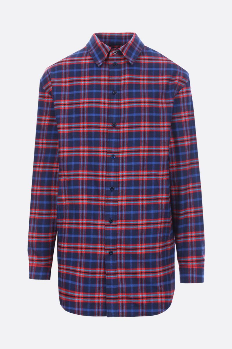 BALENCIAGA: check flannel shirt with flap detail Color Blue_1