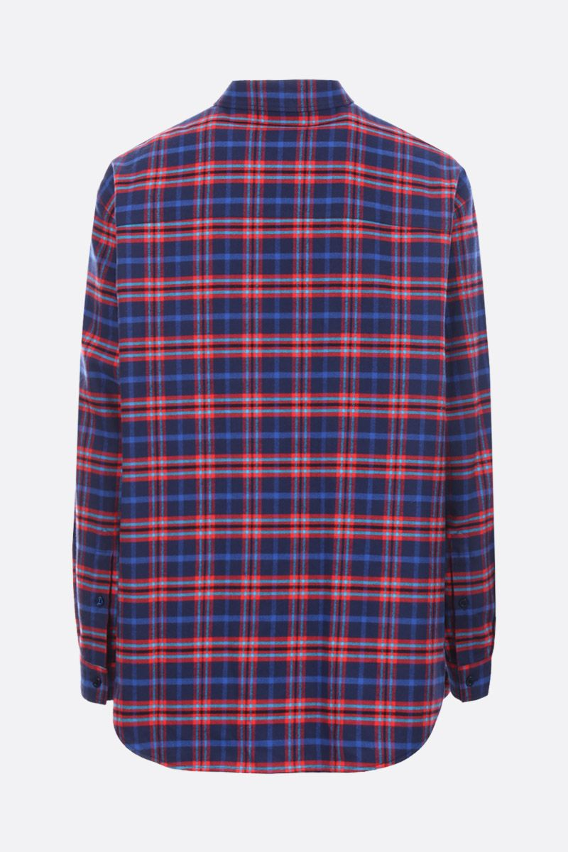 BALENCIAGA: check flannel shirt with flap detail Color Blue_2