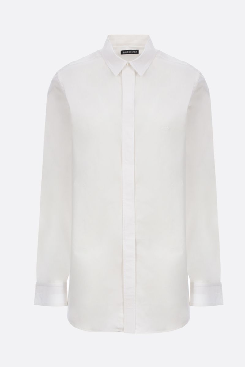 BALENCIAGA: BB logo emrbroidered poplin long-fit shirt Color White_1