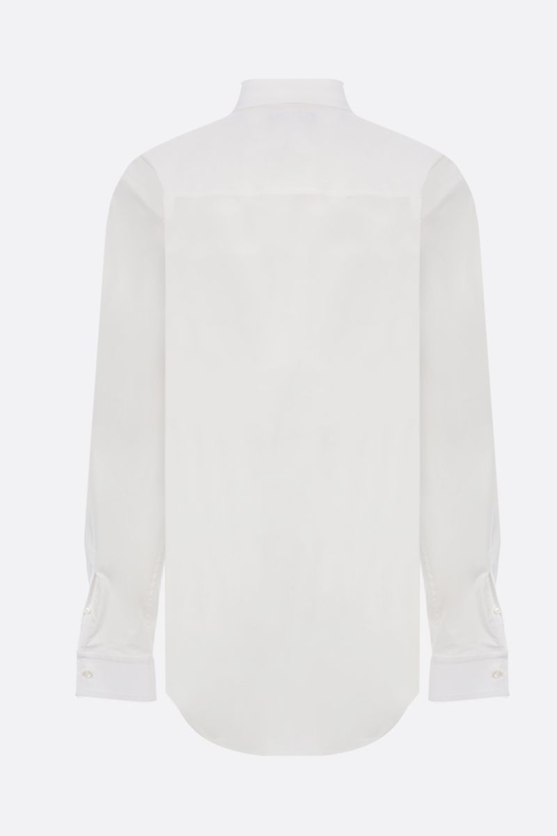 BALENCIAGA: BB logo emrbroidered poplin long-fit shirt Color White_2