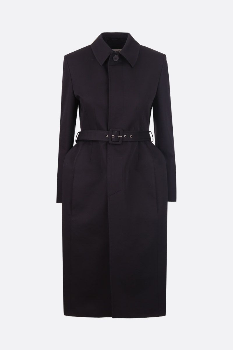 BALENCIAGA: hourglass single-breasted trench coat in gabardine Color Black_1