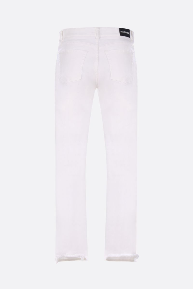 BALENCIAGA: distressed effect slim-fit jeans Color White_2