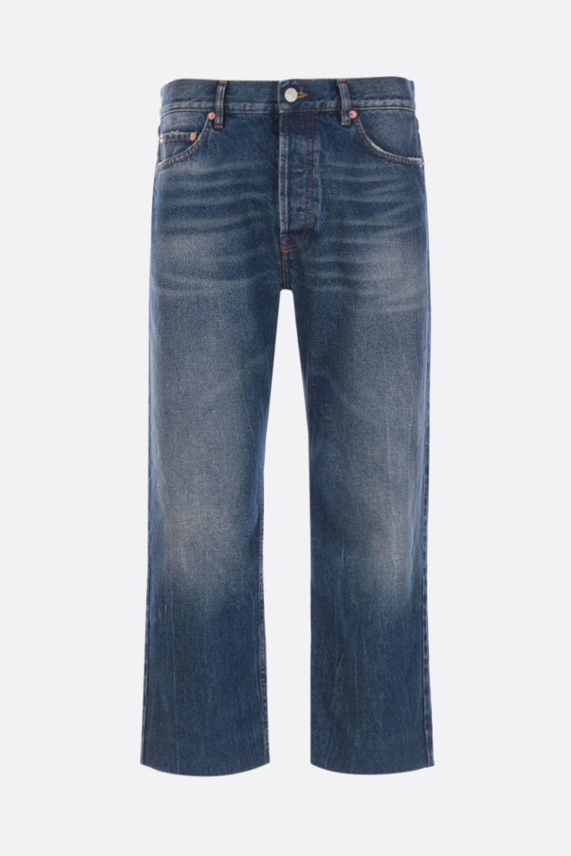 BALENCIAGA: cropped jeans with distressed effect Color Blue_1