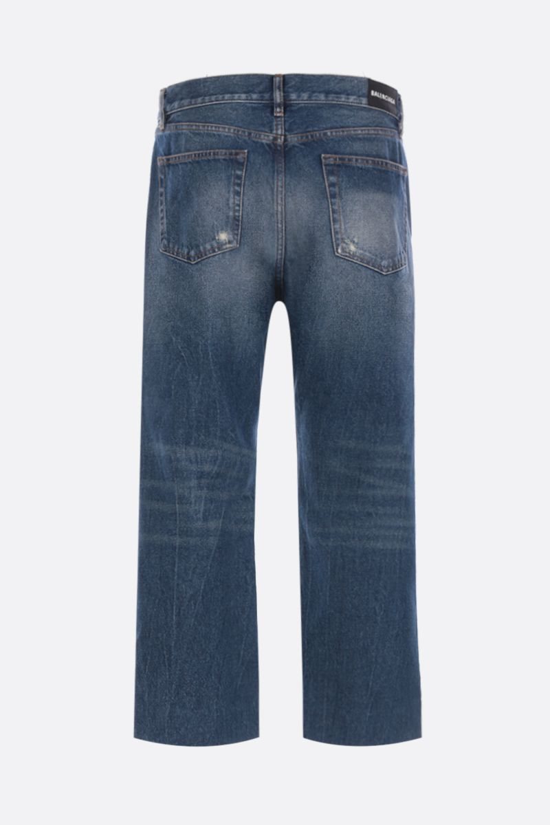 BALENCIAGA: cropped jeans with distressed effect Color Blue_2