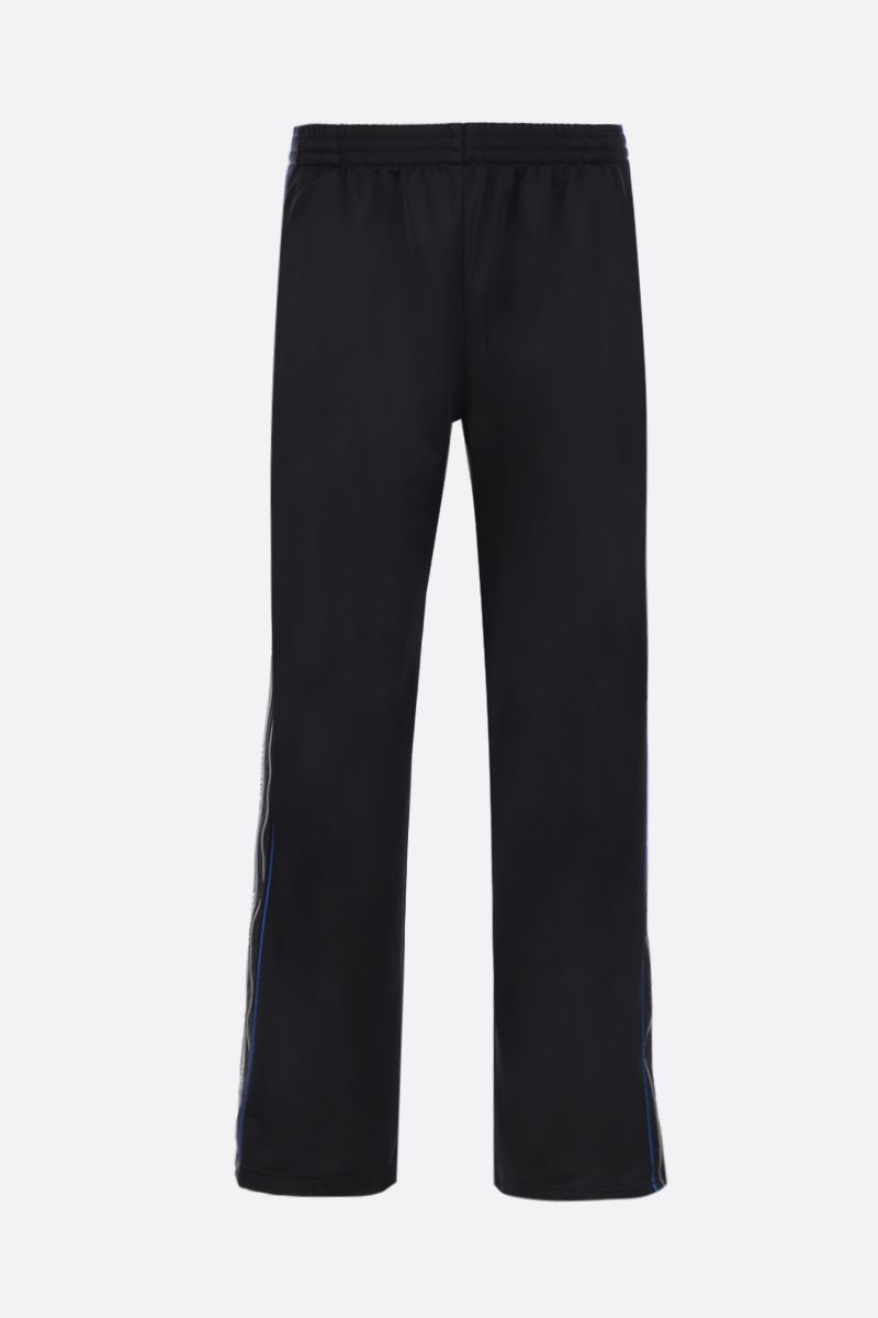 BALENCIAGA: stripe tracksuit pants in technical jersey Color Black_1