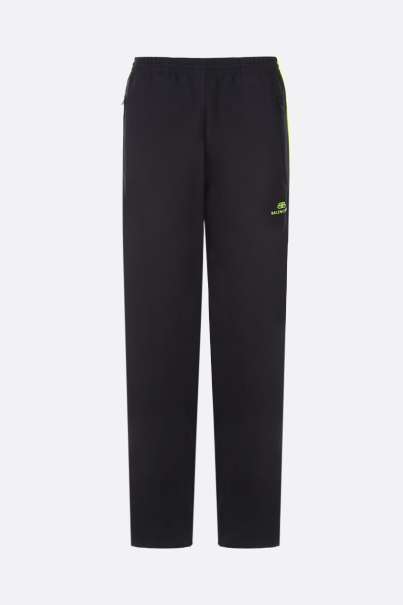 BALENCIAGA: jersey joggers with contrasting bands Color Black_1