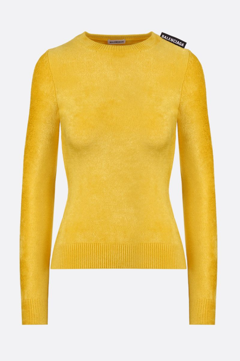 BALENCIAGA: long sleeves fitted pullover in ribbed knit Color Yellow_1