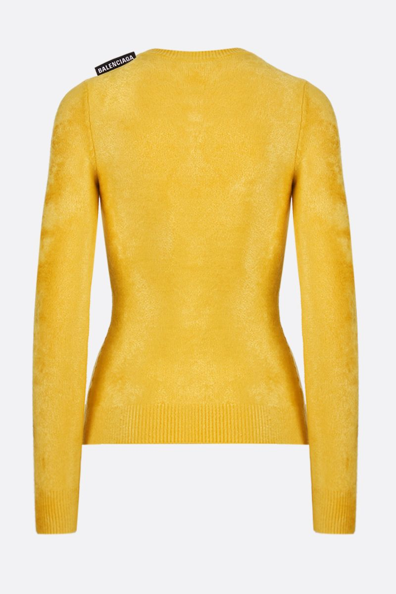 BALENCIAGA: long sleeves fitted pullover in ribbed knit Color Yellow_2