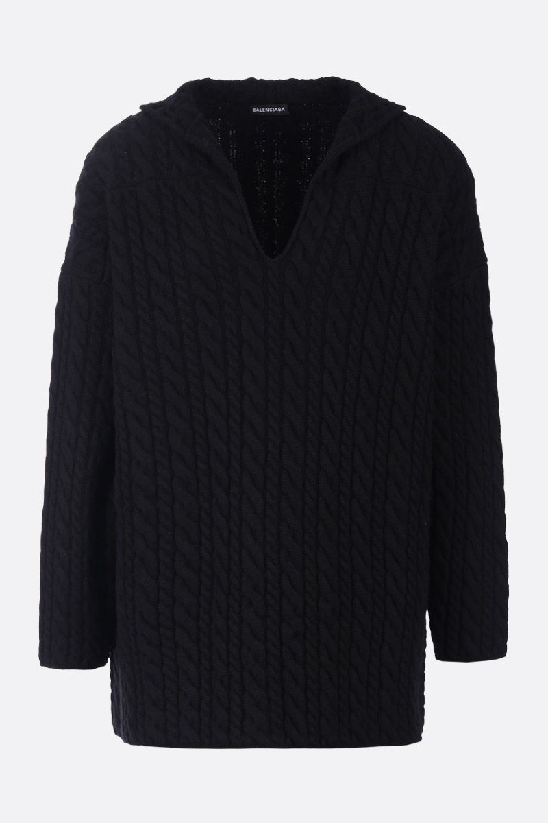 BALENCIAGA: cable knit wool oversized pullover Color Black_1