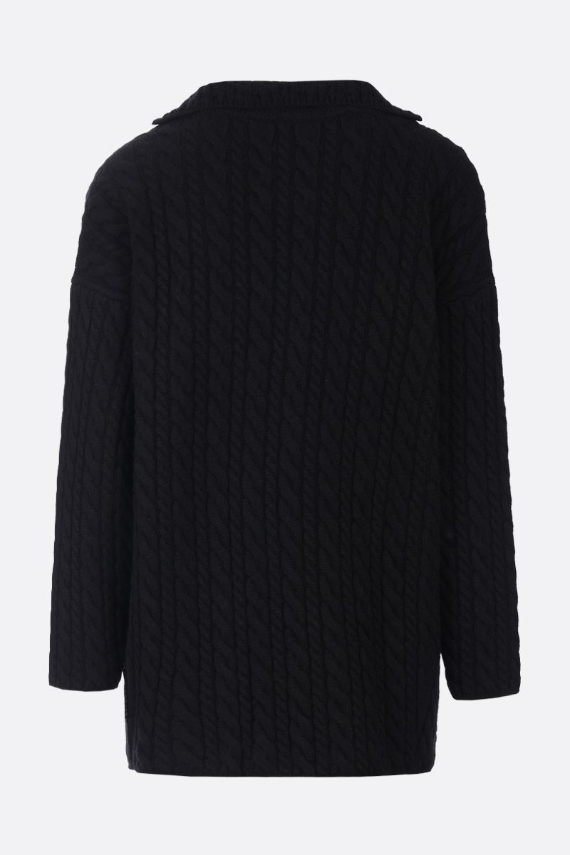 BALENCIAGA: cable knit wool oversized pullover Color Black_2
