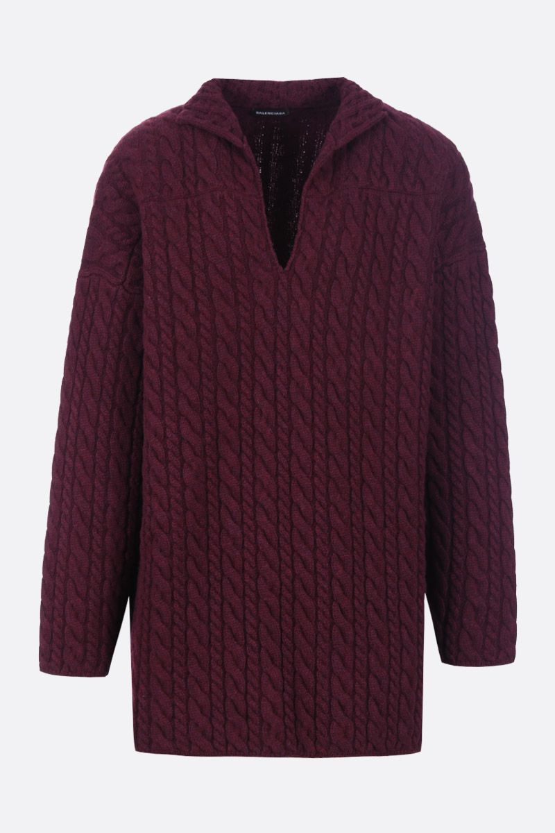 BALENCIAGA: Swing oversized pullover in mixed cable knit Color Red_1