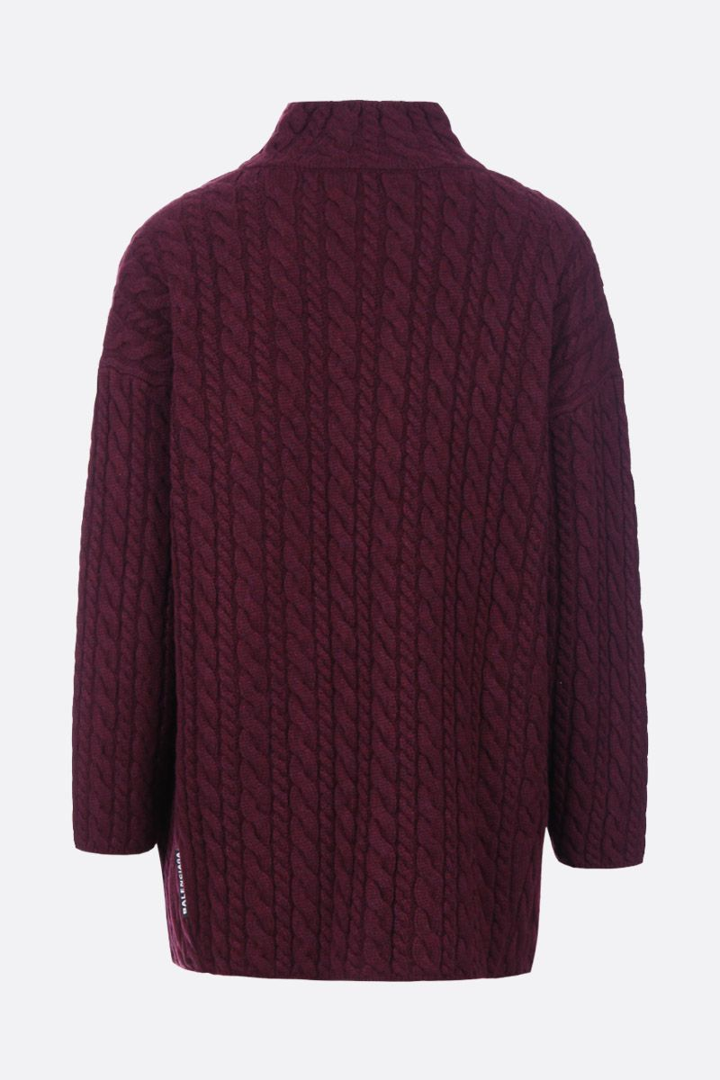 BALENCIAGA: Swing oversized pullover in mixed cable knit Color Red_2