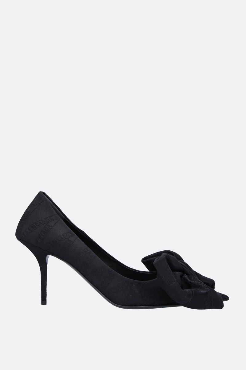 BALENCIAGA: Square Knife Bow pumps in jaquard Color Black_1