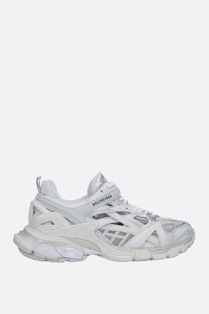 BALENCIAGA: Track.2 low-top sneakers in faux leather, mesh and rubber Color White_1