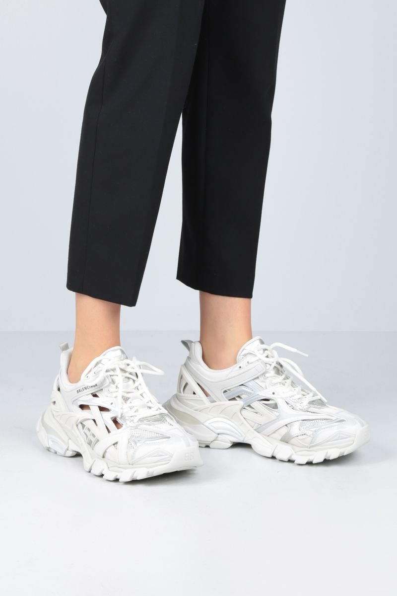 BALENCIAGA: Track.2 low-top sneakers in faux leather, mesh and rubber Color White_2