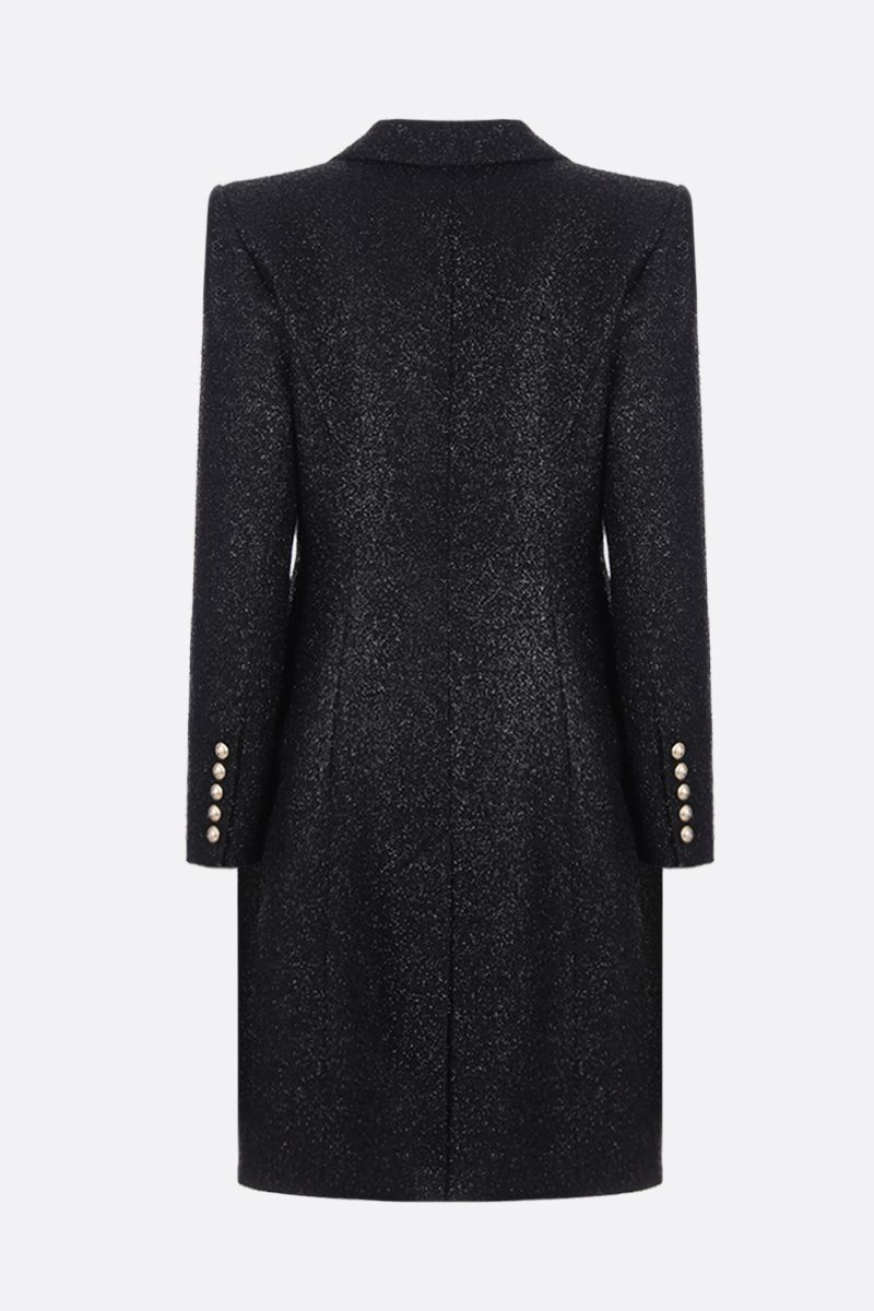 BALMAIN: cappotto monopetto in tweed brillante Colore Nero_2