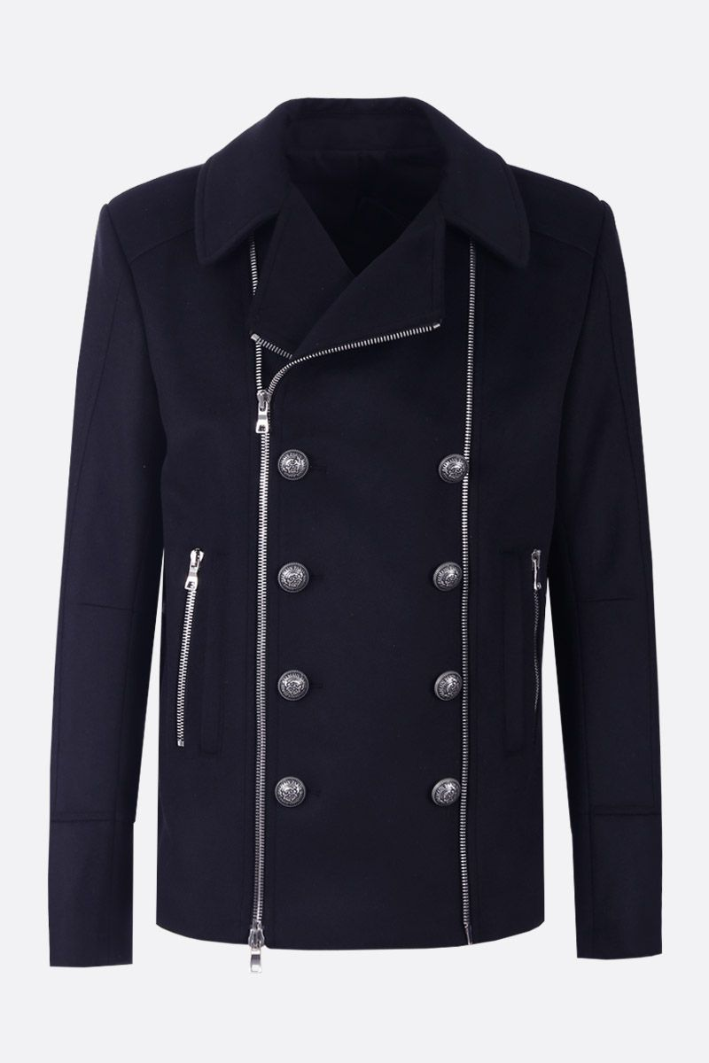 BALMAIN: wool and cashmere blend double-breasted coat Color Blue_1